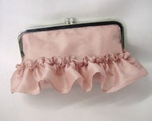 Pretty Girly - Wedding Clutch Purse Evening Bag - Sweet Ruffle Flounce All Around