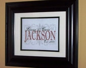 Personalized Family Name with Fleur-de-lis Background 8x10