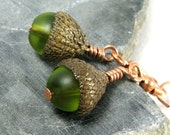 Gnomish Acorn Earrings -- Dainty Green -- REAL Acorn Caps