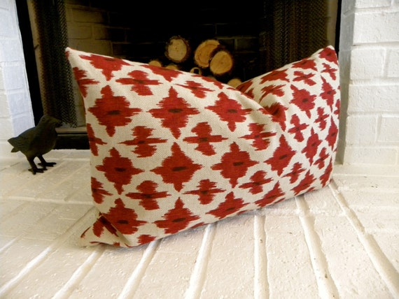 """Red Ikat lumbar pillow cover- 22""""x 13"""" - Designer pillow- -Accent pillow-Throw pillow"""
