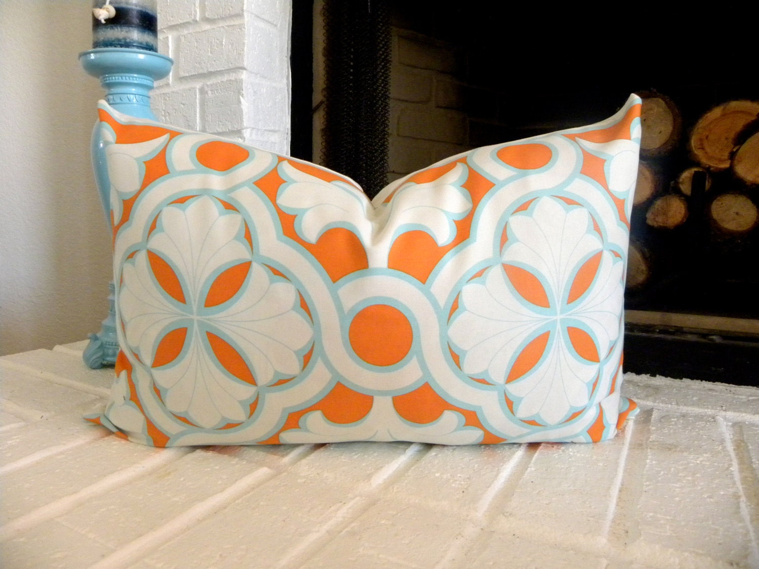 orange and turquoise decorative lumbar pillow cover. Black Bedroom Furniture Sets. Home Design Ideas