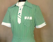 vintage 60s dress striped green white short