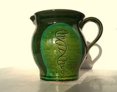 Vintage Pottery Pitcher emerald green small