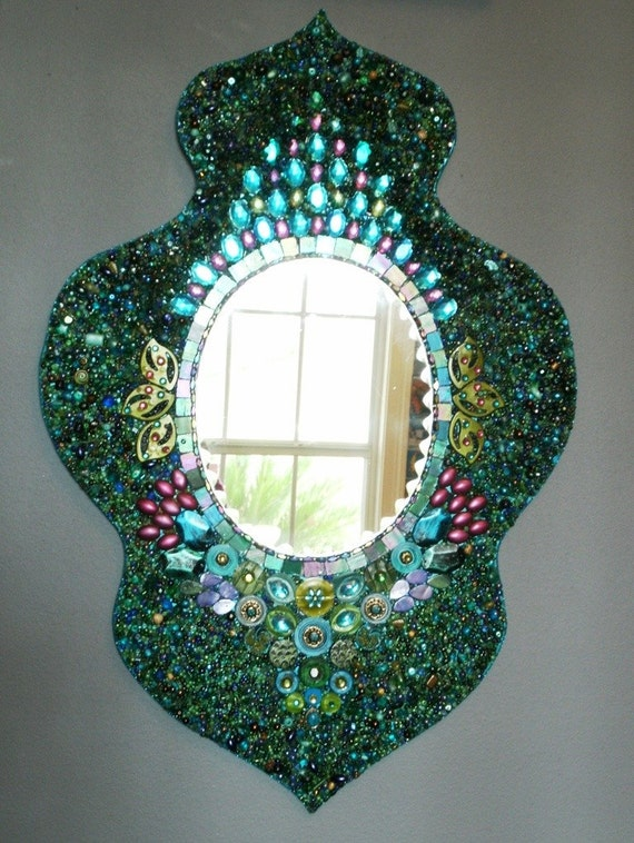 Heavily Beaded Peacock Wall Mirror