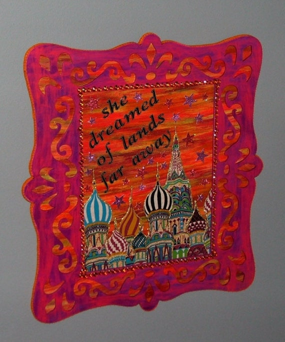 Reserved for Barb -Gypsy Soul Pink and Orange Moroccan Style Wall Hanging - She Dreamed of Lands Far Away -