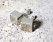 Raw Pyrite Cube Sterling Silver Stud Earrings