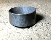 Mens Rustic Hammered Oxidized Sterling Silver Ring