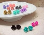 Four Pairs - Rose Stud Earrings - You Choose - 24 Colors
