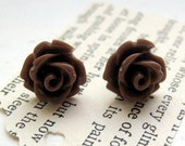 Chocolate Brown Rose Stud Earrings - LIMITED TIME ONLY