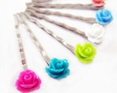 SIX Rose Bobby Pins - Choose Your Colors - 24 Colors to Choose From