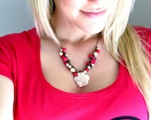 HOT PINK // Beaded Cluster Antique Brass Necklace