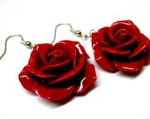 Red Rose Dangle Earrings