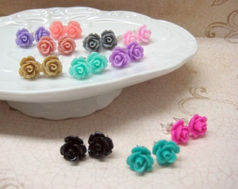 SALE - Four Pairs - Rose Stud Earrings - You Choose - 24 Colors