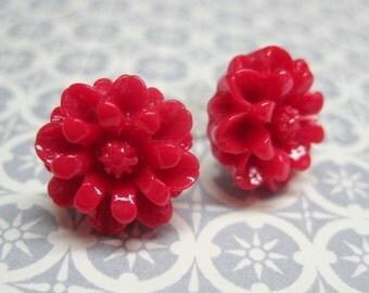 SALE - Red Chrysanthemum Stud Earrings