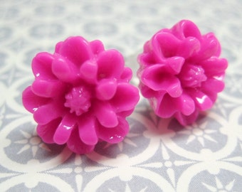 Hot Pink Chrysanthemum Stud Earrings