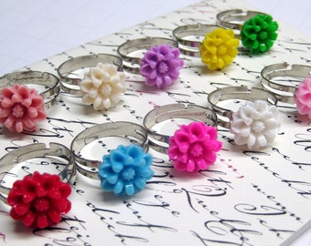 SALE - One Chrysanthemum Adjustable Silver Rings