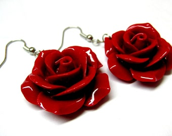Red Rose Dangle Earrings