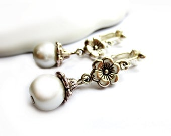 White Pearls and Flowers Dangle Clip On Earrings - Non-Pierced Ears