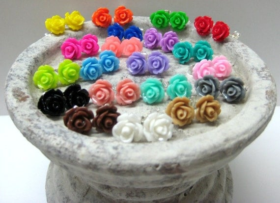 Five Pairs - Rose Stud Earrings - You Choose - 24 Colors