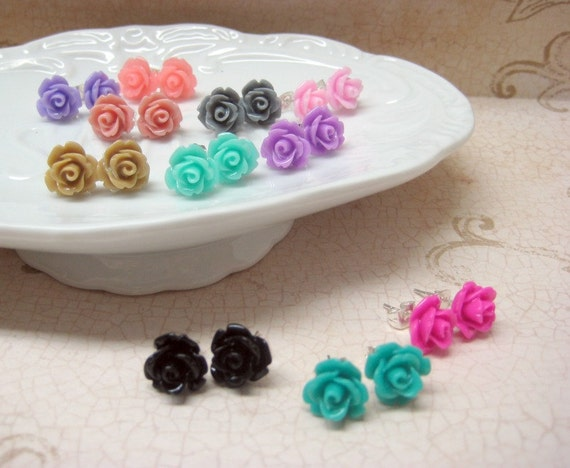 Four Pairs - Rose Stud Earrings - You Choose - 24 Colors