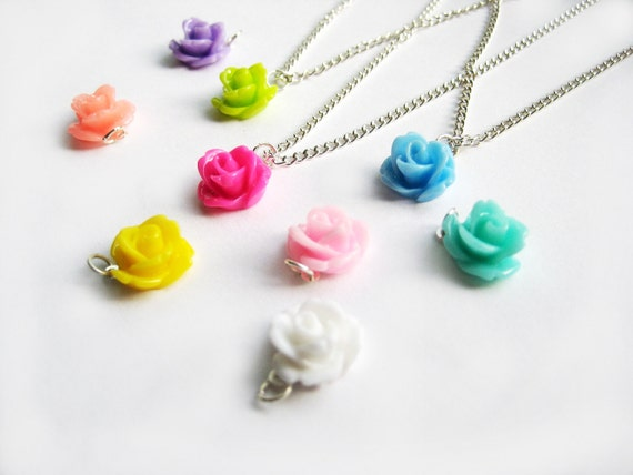 One Rose Necklace - Your Choice of Color - 24 Rose Colors To Choose From