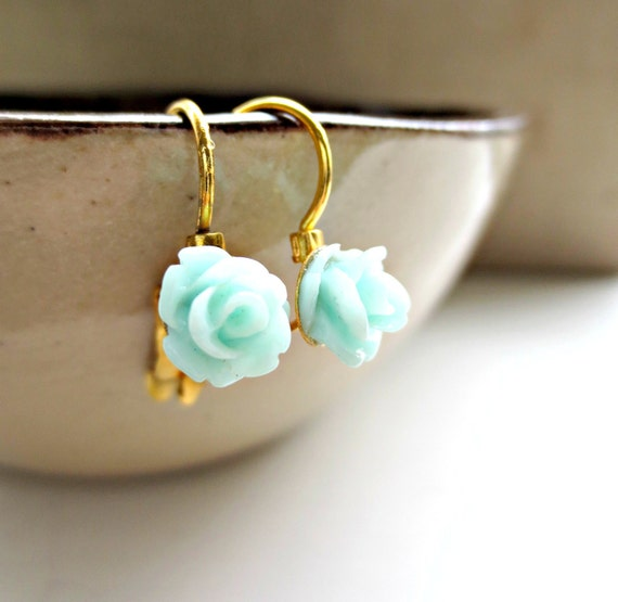 MINT - Tiny Rose French Clips Earrings