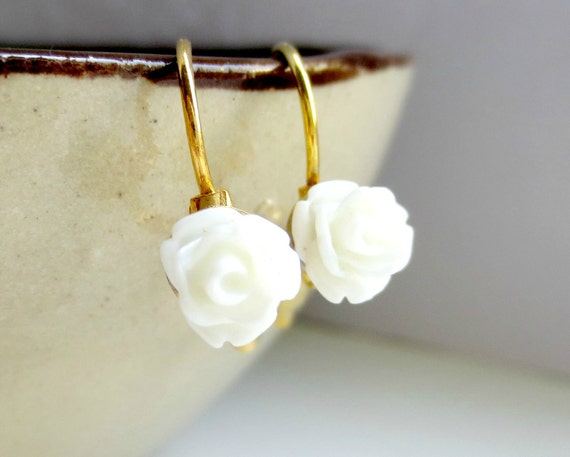 White - Mini Rose French Clips Earrings