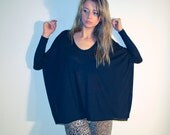 Womens oversized tunic top, long sleeve black tube top, slouchy open sides boxy top
