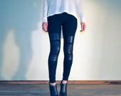 Moto black leather paneled leggings, stretch low waist cotton leather patches leggings, moto leather leggings, long length leggings