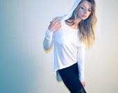 Womens hoodie top, long shirt top, white top