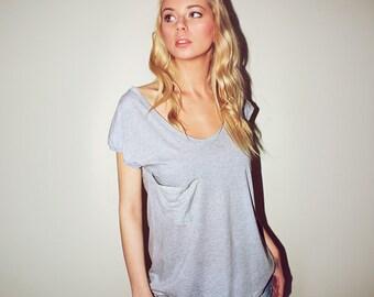 Womens muscle tee grey cotton, sleeveless top oversize cotton, grey pocket long cotton top