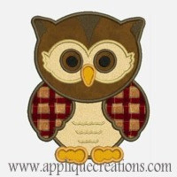 Owl...Embroidery Applique Design...Three sizes for multiple hoops...Item1039.