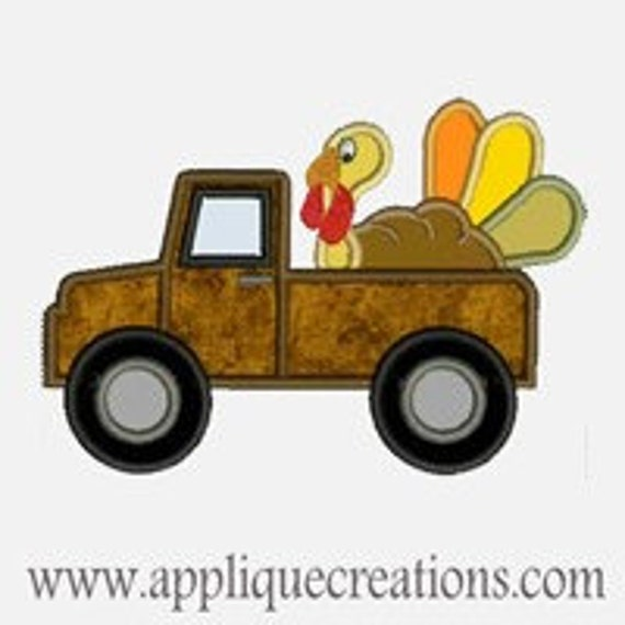 Turkey Truck ...Embroidery Applique Design...Three sizes for multiple hoops...Item1218.