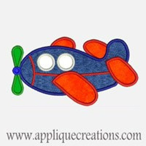 Airplane...Embroidery Applique Design...Three sizes for multiple hoops...Item1176.