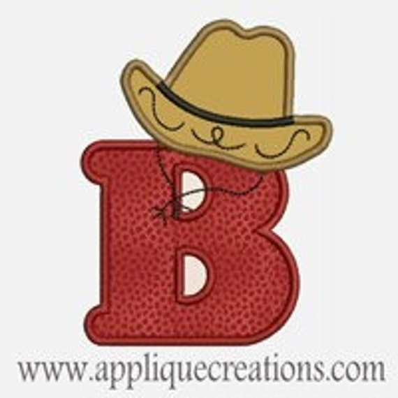 Cowboy Hat Alphabet A-Z...Embroidery Applique Design...Two sizes for multiple hoops...item1152