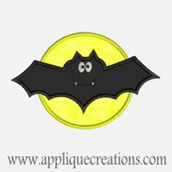 Bat with Moon...Embroidery Applique Design...Three sizes for multiple hoops...Item1278.