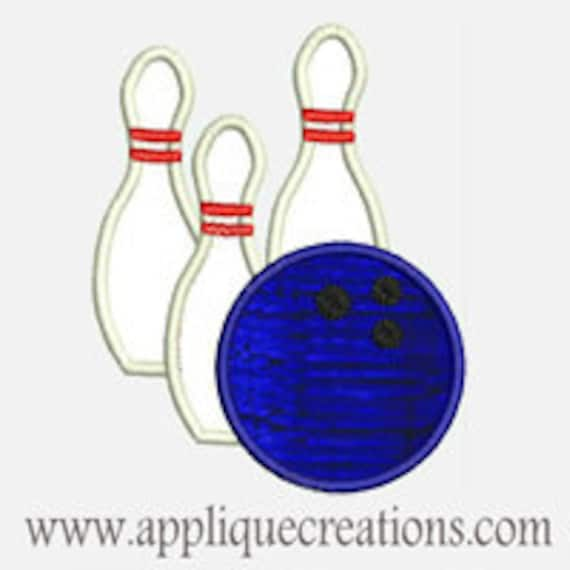Bowling Pins and Ball...Embroidery Applique Design...Three sizes for multiple hoops...Item1297.