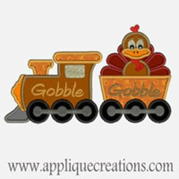 Turkey Gobble Train ...Embroidery Applique Design...Three sizes for multiple hoops...Item1359.