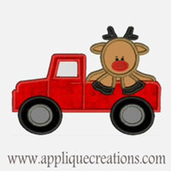 Rudolph Reindeer Truck ...Embroidery Applique Design...Three sizes for multiple hoops...Item1373.