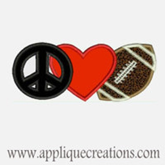 Peace Love Football...Embroidery Applique Design...Three sizes for multiple hoops...Item1393.
