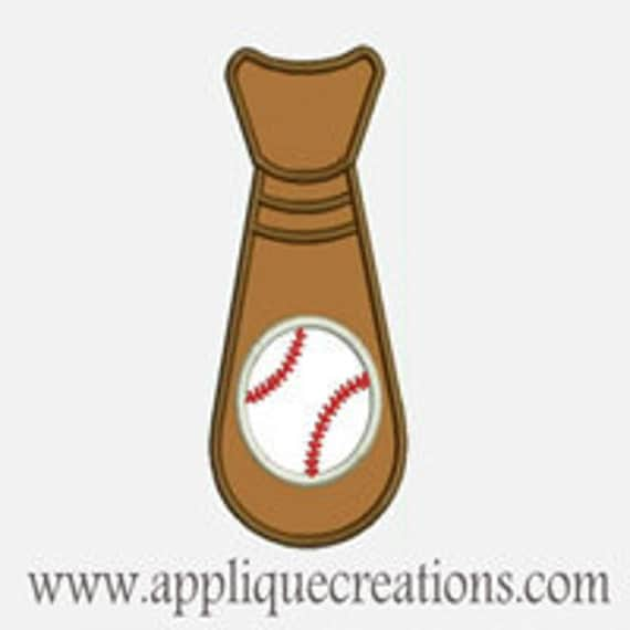 Baseball Tie...Embroidery Applique Design...Three sizes for multiple hoops...Item1448.