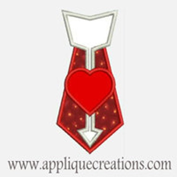 Valentine Heart Tie...Embroidery Applique Design...Three sizes for multiple hoops...Item1442.