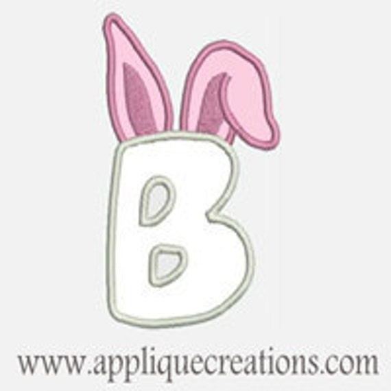 Bunny Ears Alphabet A-Z...Embroidery Applique Design...Two sizes for multiple hoops...Item1491.