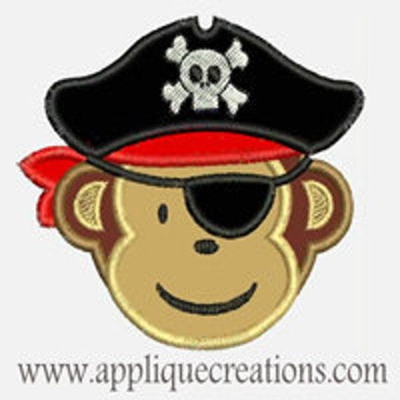 Pirate Monkey...Embroidery Applique Design...Three sizes for multiple hoops...Item1522.