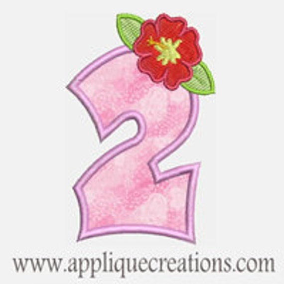 Luau Flower Numbers...Embroidery Applique Design...Two sizes for multiple hoops...Item1523.