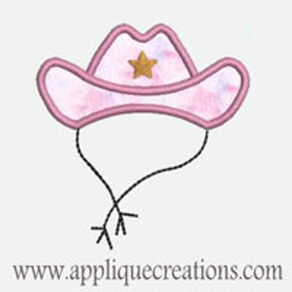 Cowgirl Hat...Embroidery Applique Design...Three sizes for multiple hoops...Item1526.