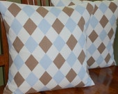 Accent Pillow Covers - Set of Two 16 Inch - Lattice design in Blue and Brown