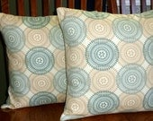 Throw Pillows, Pillow Covers, Accent Pillows - Tan and Green - Two 16 Inch