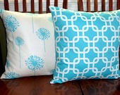 Decorative Pillow Covers in Aqua and White -Two 18 Inch