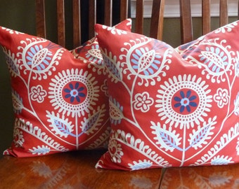 Decorative Accent Pillow Covers - Two18 Inch in Red
